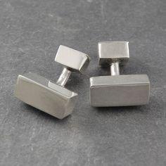 These handmade Rectangular Geometric Silver Cufflinks typify the Otis Jaxon aesthetic: understated, refined, casual, contemporary and classic. #Otisjaxon #Jewellery