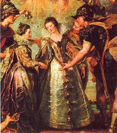 Anne of Austria, reine de France (1601-1666) with Elisabeth de France, 1622 by Peter Paul Rubens (Musee du Louvre)