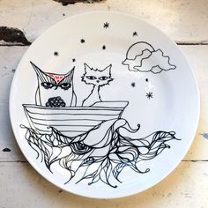 Hand Drawn Plate - Owl & the Pussy Cat. $68.84NZ, via Etsy.
