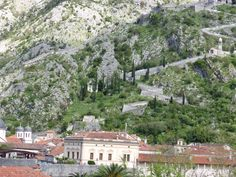 Section of the city walls Bay of Kotor, Montenegro