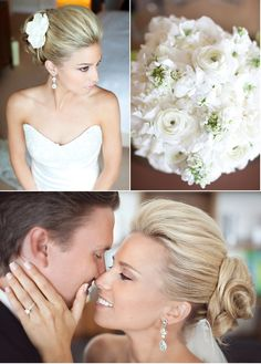 wedding hair-- I like the way her hair is pushed back from her face in the front... I would still want mine down