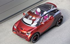 "Here we have the Smart ForStars, an electric concept car by Daimler inspired by the Smart family of vehicles. ""With the concept vehicle smart forstars the urban global brand is hitting the nerve o Smart Roadster, Crossover Suv, Smart Four, Porsche 550 Spyder, Nissan, Smart Fortwo, Drive In Theater, City Car, Cars"