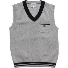 Armani Junior Boys Grey Cotton Knitted Slipover at Childrensalon.com