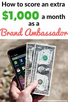 I wish I'd known sooner that I could make $1,000+ on the side as a brand ambassador...time to start this gig now! Side hustlers and entrepreneurs tune in...best tips to become a brand ambassador, how to become a brand ambassador and make real money and getting started as a brand ambassador secrets.