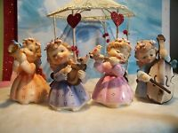 SPRING 4 Vintage LEFTON 149 Musical Instrument Angel Figurines W/ Birds SoO CUTE