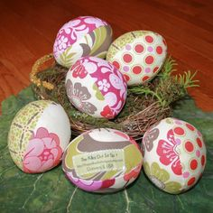 Meadowsweet Pastel Floral Fabric Easter Eggs by ThePolkaDotTotSpot, $22.00