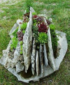 Creative use of vertical stone in a succulent garden!