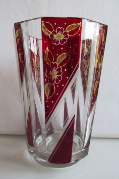 KARL PALDA CZECH/BOHEMIAN CUT GLASS VASE. TWO TONE COLOR  ART DECO 1930-1940's