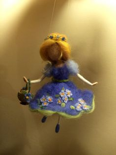 """Needle felted Fairy Waldorf inspired Wool Spring fairy in blue dress with basket """"Forget-me-not"""" Doll miniature Gift Art doll Mobile"""