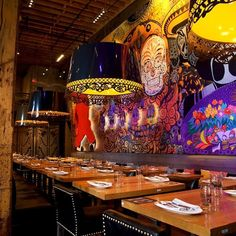 Discover the most beautiful walls in Toronto from graffiti murals to backdrops of restaurants, bars and coffee shops. Bar Mexicano, Restaurant Mexicano, Mexican Restaurant Design, Taco Restaurant, Restaurant Interior Design, Restaurant Logos, Mexican Restaurants, Car Interior Sketch, Nocturne