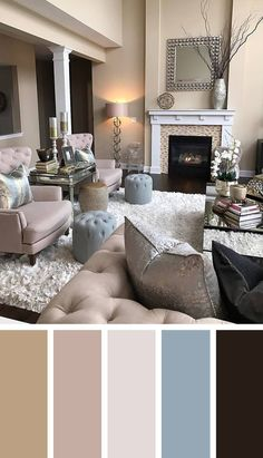Color Combination Living Room Blue Sofa Decor Neutral Palette Interior Paint Colors In 2019 Sophisticated Convenience Old Hollywood Style