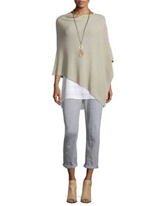 Ribbed+Poncho,+Sleeveless+Plaid+Tunic+&+Slim-Leg+Cropped+Boyfriend+Jeans+by+Eileen+Fisher+at+Neiman+Marcus.