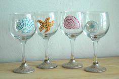 Seashell, Starfish & Sand Dollar Hand Painted Beach Wine Glasses - Set of 4 - pinned by pin4etsy.com