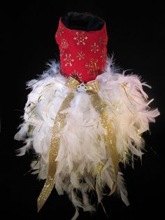 NEW Couture Fancy Holiday Feathery Dog Dress XS _ Dog Clothes _ Feather Tutu #handmade