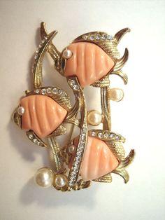 Hattie Carnegie triple fish brooch vintage costume jewelry x