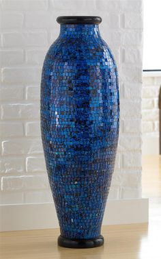 Make a decorating splash with a gorgeous handcrafted vase featuring cascading waves of vibrant ocean blue glass that catch and reflect light from a thousand dif Blue Mosaic, Mosaic Art, Mosaic Tiles, Glass Tiles, Contemporary Vases, Decks And Porches, Mosaic Designs, Vases Decor, Furniture Decor