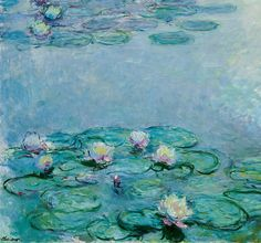 Impressionism Canvas Print - Water Lilies by Claude Monet Claude Monet, Water Lilies Painting, Lily Painting, Water Lillies Monet, Painting Art, Artist Monet, Arte Van Gogh, Monet Paintings, French Paintings