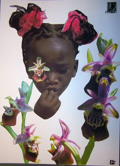 """The sweet taste of flowers"" 2013 (mixer media on rough paper 220gsm 24x33cm)  –series ""African Innocence""-  by DF Art"