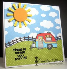 SC0651 Ai His and Hers Campers from Art Impressions. Hampton Arts clear stamp sets available at Michael's Craft Stores. camping handmade card masculine, trailer, sunshine