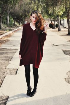 Blogger JadeElise wears an oversize burgundy knit dress with loafers #AW14 #streetstyle