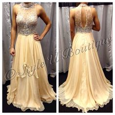 Just one of this brand new champagne chiffon evening gown..Perfect for Homecoming!