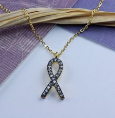 Cancer awareness necklace, breast cancer survivor gift, pave cz gold awareness ribbon jewelry, inspirational charm necklace - pinned by pin4etsy.com