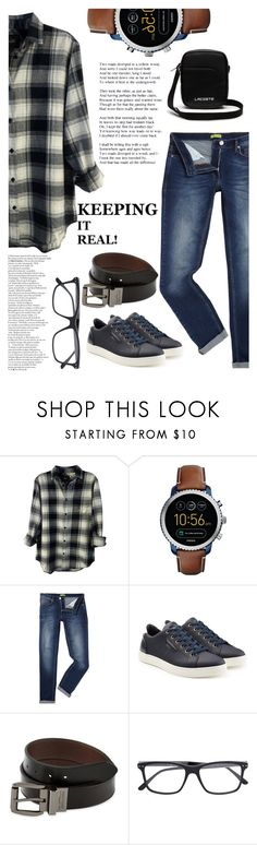 """""""Playfullysweet : The man I love"""" by playfullysweet ❤ liked on Polyvore featuring Rails, FOSSIL, Versace, Dolce&Gabbana, Levi's, Bottega Veneta, Lacoste, men's fashion and menswear"""