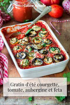 La recette du gratin d'été courgette, tomate, aubergine et feta #cuisineactuelle #gratin #courgette 20 Min, Lchf, Sugar Free, Low Carb, Gluten Free, Meals, Vegan, Food, Eggplants