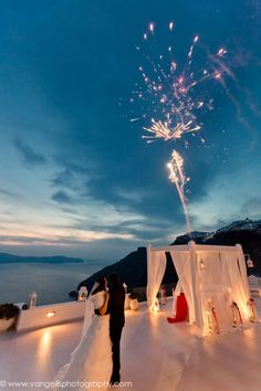 Ana and Joel's Dream of a White and Red Wedding in Santorini
