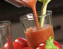 Tomato-Vegetable Juice: Roma Tomatoes, celery, red bell pepper, lemon slice, green onion, salt, worcestershire sauce