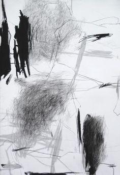 Laurence Garnesson | Série Approches, pierre noire sur papier, 110 x 75 cm, 2011