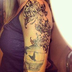 chrysanthemum and bird tattoo - 40 Beautiful Chrysanthemum Tattoo Ideas  <3 <3
