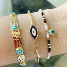 Beaded Cuff Bracelet, Seed Bead Bracelets, Pandora Bracelets, Bangle Bracelets, Bangles, Seed Beads, Evil Eye Jewelry, Evil Eye Necklace, Evil Eye Bracelet