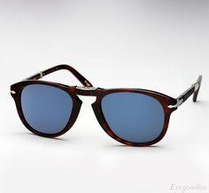 Persol 714 SM sunglasses - Tortoise w/ Blue Lenses