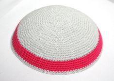 kippah light gray with magenta by crochetkippah on Etsy