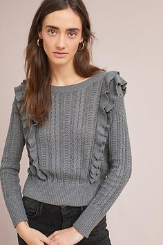 Moth Susan Ruffled Pullover | Gray fall sweater for casual outfits #ad #fallfashiontrends