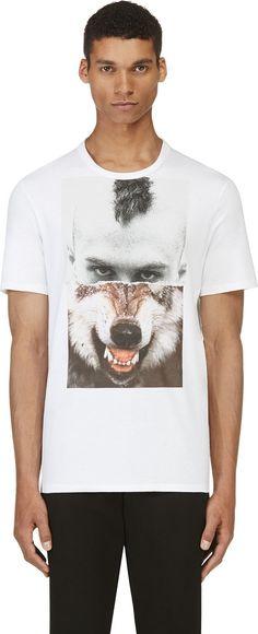 Neil Barrett: White Mohawk & Wolf T-Shirt