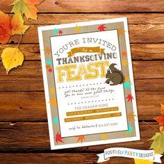 Thanksgiving Feast Invite - 5x7 JPG or PDF - pinned by pin4etsy.com