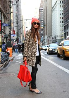 Leopard coat red bag