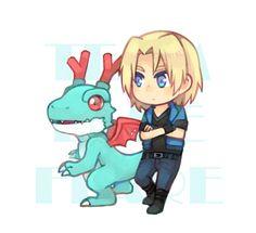 Aonuma Kiriha and Dracomon Digimon Xros Wars