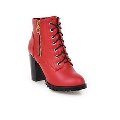 BalaMasa Ladies Bandage Chunky Heels KittenHeels Red Imitated Leather Boots  45 BM US *** ** AMAZON BEST BUY ** #KoreanShoes Korean Shoes, Chunky Heels, Leather Boots, Cool Things To Buy, Booty, Ankle, Lady, Amazon, Fashion