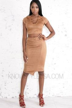 Lace Up Crop Top Matching Midi Skirt Soft Suede Material 90% Polyester 10% Spandex Hand Wash Cold No Bleach   - Model is wearing a size SMALL- Model body meas...