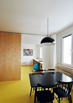 Previous Next The biggest building intervention was the enlargement of the door between the kitchen and the bedroom from 90 to 150 cm. The interconnection was supported by a marmolea … Big Building, Malm, Bookshelves, The Hamptons, Flooring, Bedroom, Kitchen, Furniture, Home Decor