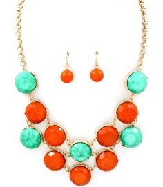 Turquoise and Coral statement necklace. LOVE.