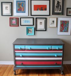 stripes with gallery wall! @Stephanie Kerschner you could do this to your new dresser!