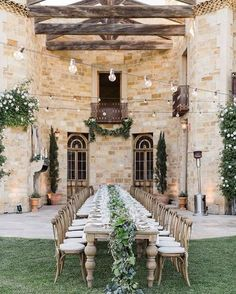 """For a summer or destination wedding, nothing beats and outdoor, or """"al fresco"""", wedding reception. Being outside among nature in beautiful weather seriously ups the romance. Add some twinkling lights, Inexpensive Wedding Venues, Outdoor Wedding Reception, Outdoor Weddings, Country Wedding Inspiration, Tuscan Wedding, Mediterranean Home Decor, Wedding Themes, Wedding Decor, Wedding Ideas"""