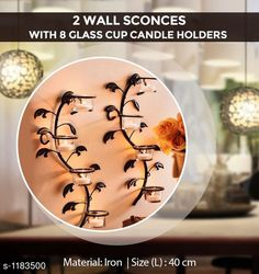 Checkout this latest Wall Lights_2000-2500 Product Name: *Amazing Home Decor* Material : Iron Size (L) : 40 cm Description : It Has Set of 2 Wall Sconces With 8 Glass Cup Candle Holders Country of Origin: India Easy Returns Available In Case Of Any Issue   Catalog Rating: ★4.3 (1019)  Catalog Name: Home Decor Products Vol 5 CatalogID_147994 C127-SC1612 Code: 274-1183500-669
