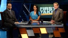 First Take - ESPN is a debate show. One of the most popular sports shows, two sports journalists, debate the hottest sports topics. Also bring in special guests (celebrities, other journalists, athletes)...http://espn.go.com/espn/feature/index?page=firsttake