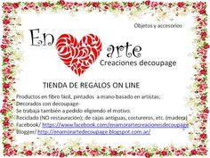 Los invito a que conozcan mas de mis creaciones- ENAMORARTE creaciones decoupage-Objetos y accesorios-Tienda de regalos on line con envios a toda Argentina- https://www.facebook.com/enamorartecreacionesdecoupage También estoy en Mercado Libre y realizo reciclado (no restauración)-