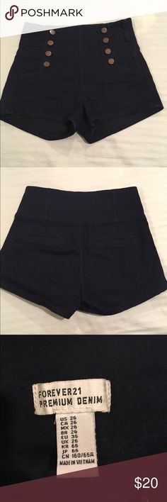 High-Waisted Sailor Shorts Button knitted elasticized navy blue shorts Forever 21 Shorts Jean Shorts
